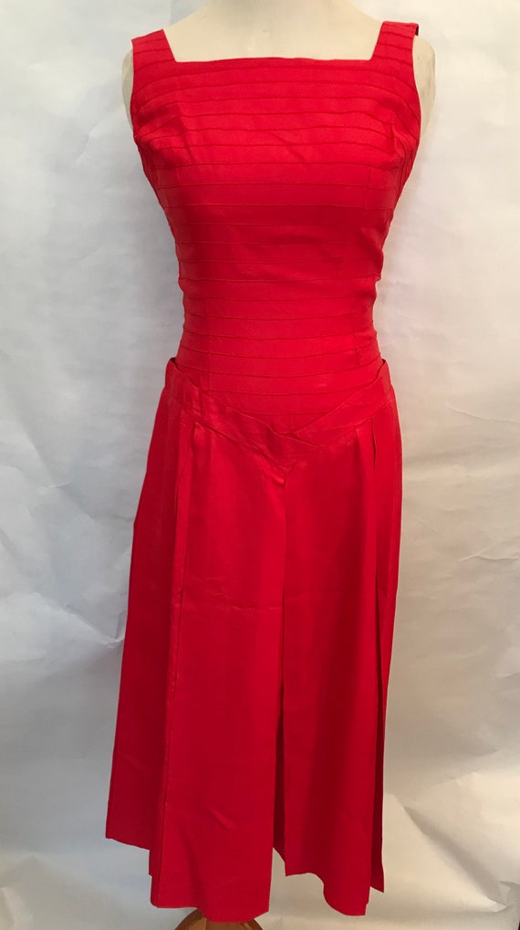 50's Red Dress and Bolero, red dress, vintage set,
