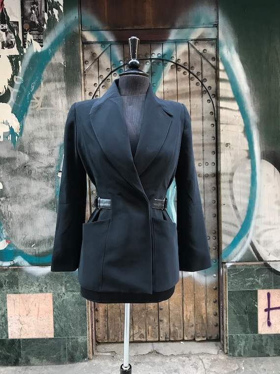 2000s Mugler jacket with adjustable leather belt