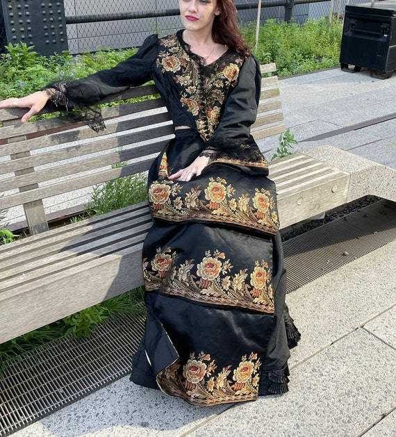 Victorian embroidered jacket and skirt.lace sheer… - image 6