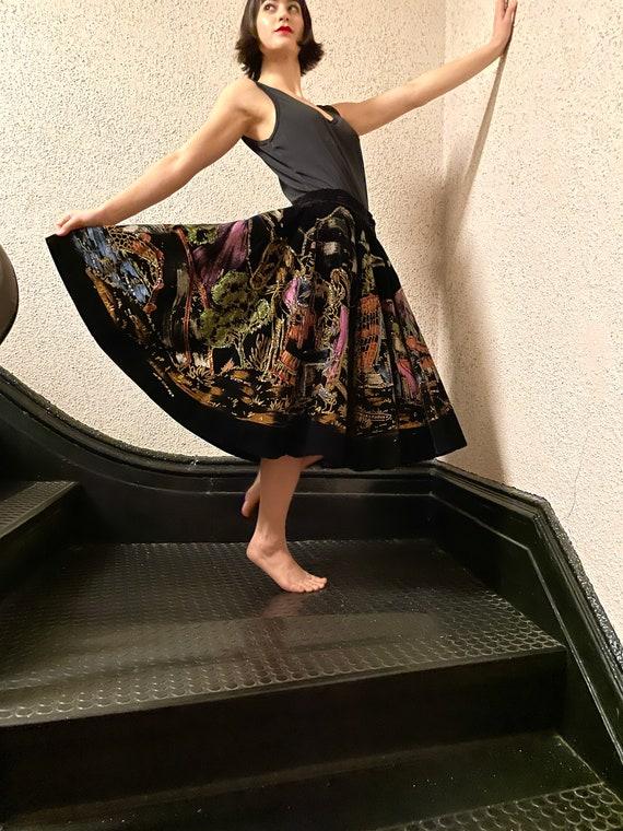 Fantastic 50s Painted Velvet Sequin Circle Skirt,