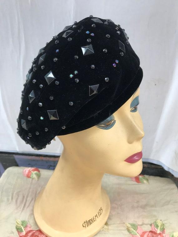 50's Lilly Daché black slanted velvet hat