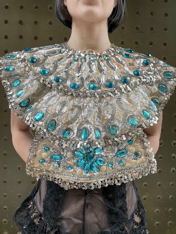 67' Samson and Delila silver sequin opera collar,