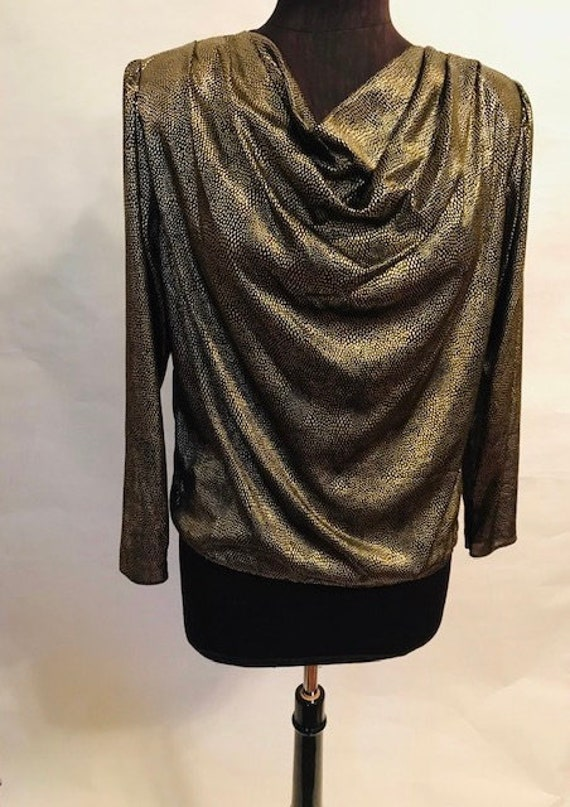 80's Gold Lame Blouse