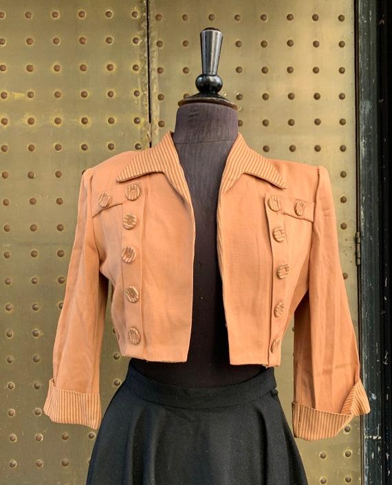 40's gabardine beige/brown open short jacket