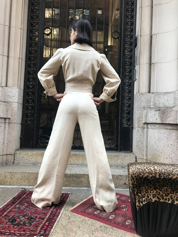 70's Arnold Scaasi cream color, Row silk Pantsuit - image 3