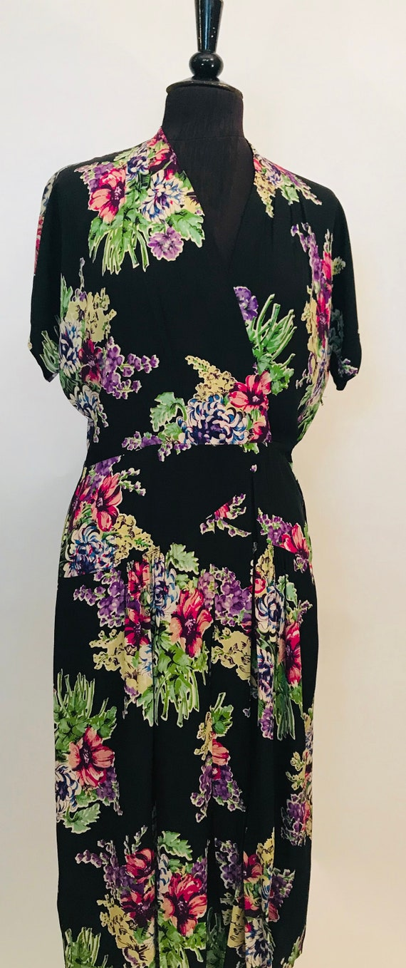 40s rayon purple floral