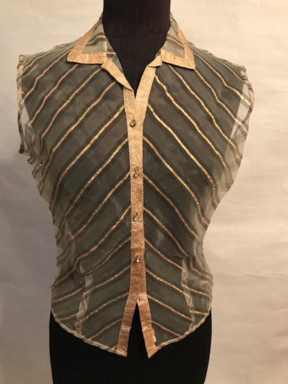 30's Gold Sheer Striped Blouse