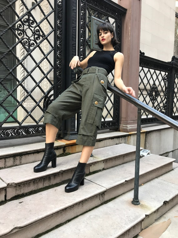 Rare Marc Jacobs embellished dark green cargo pant