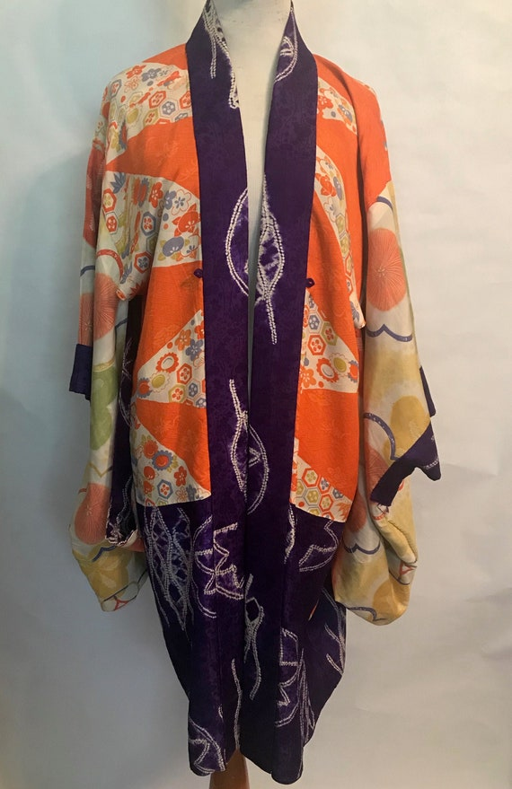 30's Reversible Orange and Purple Silk Kimono