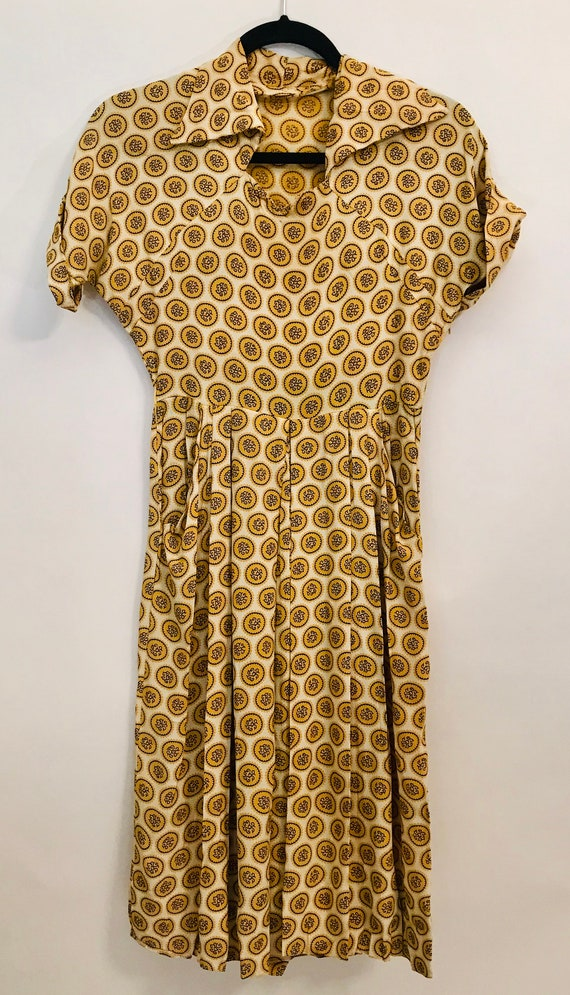 40's Rayon ochre color dress