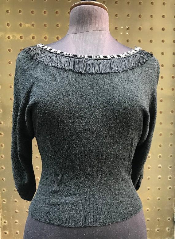 50's black bouclé sweater