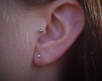 Cartilage earring Helix piercing Moonstone earrings Tiny stud earrings Cartilage piercing Helix Moon earrings Helix earring Moon phase Hex