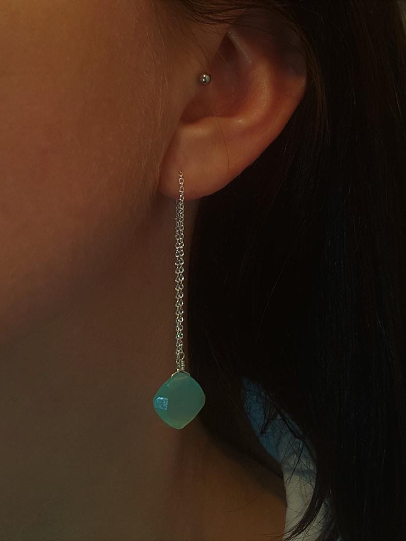 Aqua Chalcedony earrings,Crystal earrings Sterling silver chain earrings Ear threader chalcedony earrings
