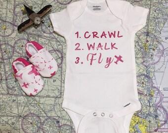 151b3e3099a Crawl Walk Fly Pink Pilot Bodysuit