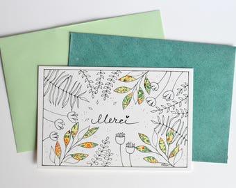 "Greetings card, ""Merci"", Thank you, printed postcard, illustration, illustrated card"