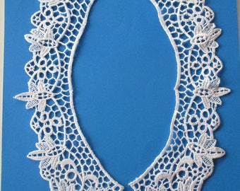 Collar lace, Quipure sewing white neck 66 cm width 6 cm.