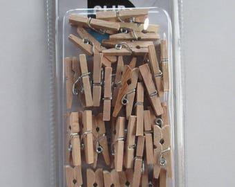 30 mini clothespins natural wood, 25mm x 7mm