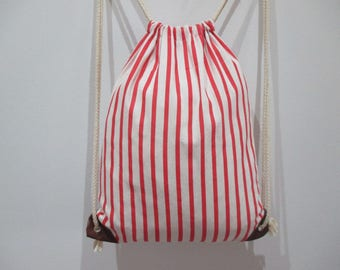 Backpack fabric striped bag backpack, trend, adult, teen or children.