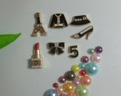 8 Pcs Fashion Alloy Flatbacks Cabochons Decoden Kit Diy Phone Decoration 3 Colors Tower Shirt Hat Shoes Number Bow Lipstick Pearls