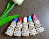 1 Pc Huge 62x23mm Lipstick Pearl and Rhinestones Alloy Metal Charms Gold Tone Choose Colors