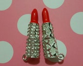1 Pc Red Lipstick Rhinestones Alloy Metal Charms Bright Silver Tone 44x11mm