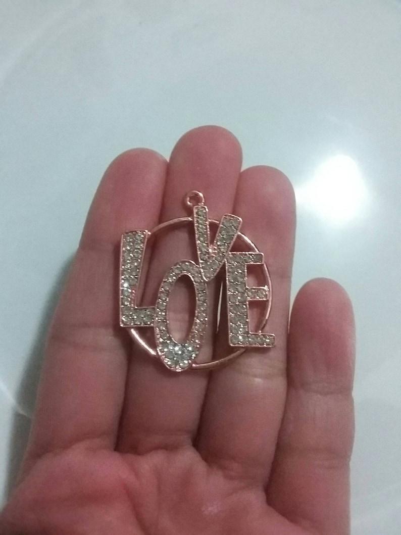 33\u00d733mm Rose Gold Tone 1 Beautiful Love Word Charm with RhinestonesAcrylic Pearls