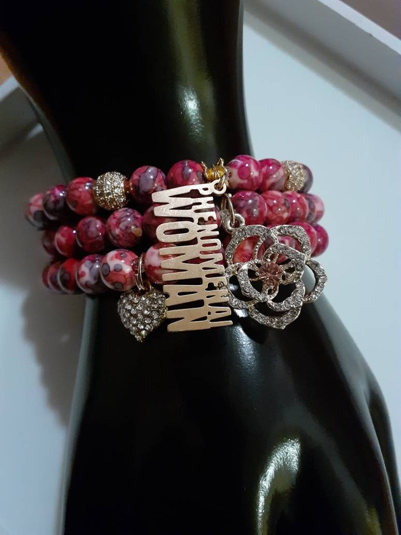 Jasper Bracelet 3 Pieces 1 Set Women Bracelets Charmed Bracelets Size 7 PHENOMENAL WOMAN Bracelet Beaded Bracelets with Gold Accents