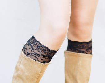 Black Lace Boot Cuffs / Lace Boot Socks / Edgy Clothing / Gothic Festival Accessories / Boot Toppers / Womens Boot Cuffs // Black and Gold
