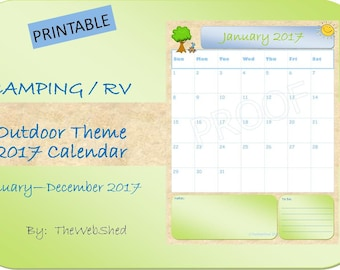 Calendar 2018 (January - December) + *BONUS* Monthly Planner - Camping/Outdoor AND BEACH Journal Theme