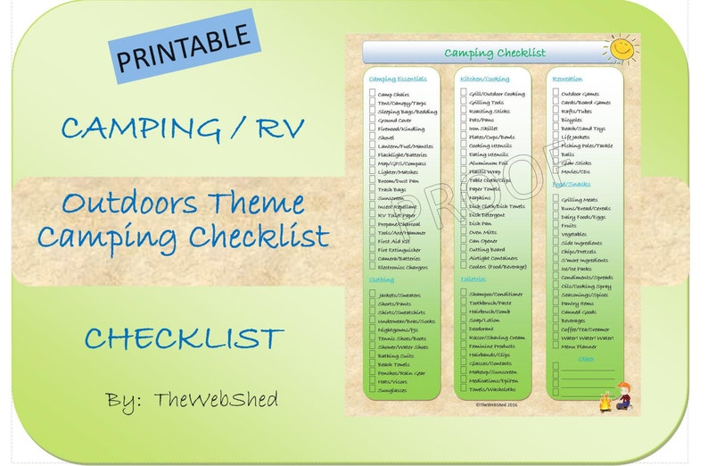 graphic relating to Rv Camping Checklist Printable identify Tenting List - Outside/Tenting Topic Printable - Good for RVers or the Relaxed Tenting Holiday