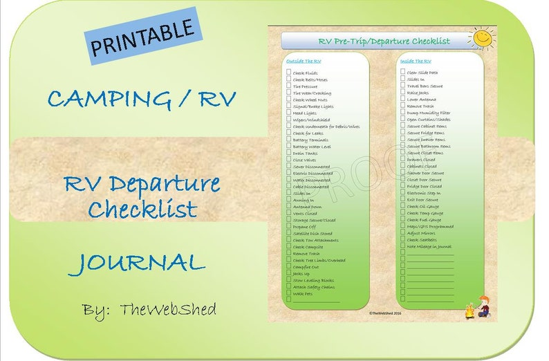 graphic about Rv Checklist Printable titled RV/Camper Pre-Holiday/Departure Listing - Out of doors/Tenting Topic - Ideal for Finish-Year RVers or Relaxed Weekend Campers