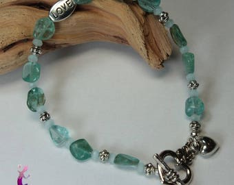 """Bracelet """"Nagar"""" apatite with silver plated clasp"""