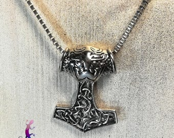 """Mjölnir"" pendant hammer of Thor and silver metal chain necklace"