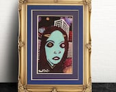 Robert Snell Art Print with Double Blue/Purple Matte, Dark Creepy Fantasy Portrait, Small Wall Art, Unisex Gothic Gift
