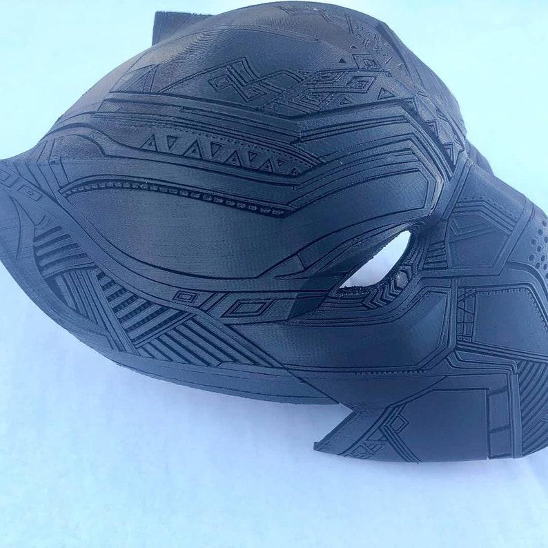 3D Printed black panther like helmet commission