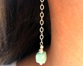 925 Silver long earrings with Amazonite cubes - E40019