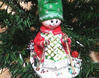 Christmas Elf, pine cone Elf, Christmas pine cone, Christmas tree decor, Christmas gift, hanging ornament, Table decor, hiking sticks, snow