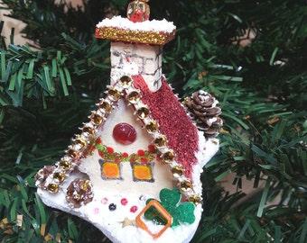 Christmas cottage, Christmas house, snow house, Christmas tree decor, winter decor, hanging ornament, table decor, Christmas gift