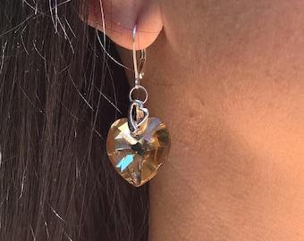 925 Silver heart earrings with Swarovski Elements - Golden Shadow Heart pendants E40017