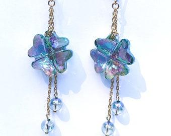 Gold Filled clover earrings with Swarovski Elements - Paradise Shine Clover pendants E40056