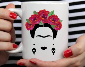 Frida Kahlo Mug, Frida and Diego, Mexican Art, Coffee & Tea, Ceramic, Artist, Cute, Feminism, Vogue, Gifts for Feminist, Nasty Woman, Bestie