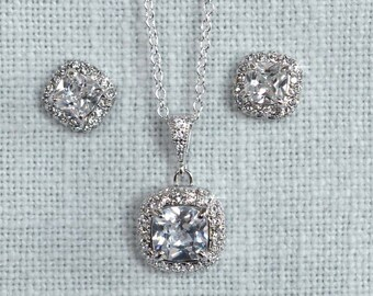 Dainty Princess Square Cut Clear Cubic Zirconia Stud Earrings and Necklace Bridal Set, Bridal, Wedding (Sparkle-1855)
