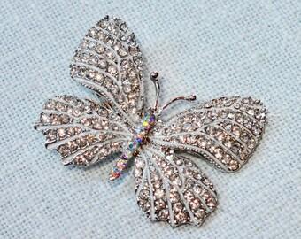 Beautiful Handmade Clear & Aurora Borealis Crystal Rhinestone and White Enamel Butterfly Hair Clip, Wedding, Bridal (Sparkle-2770)