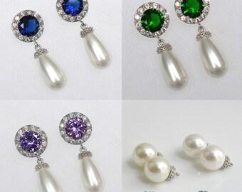 Handmade Sapphire Blue Cubic Your Colour Choice -- Cubic Zirconia CZ and Swarovski Pearl Dangle Bridal Earrings, Bridal, Wedding (Pearl-717)