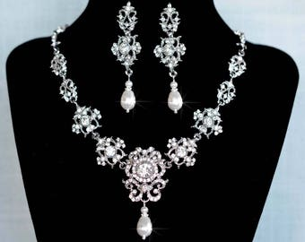 Vintage Inspired Crystal Rhinestone & Pearl Bridal Necklace and Earrings Jewelry Set, Bridal, Wedding (Sparkle-2765)