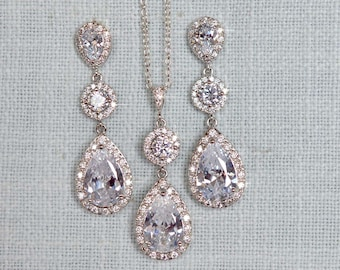 Clear Cubic Zirconia CZ Bridal Necklace and Earring Set, Bridal, Wedding (Sparkle-2785)