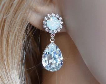 Choose Your Colours -- Handmade Swarovski Colour Crystal Teardrop and Halo Post Dangle Bridal Earrings, White Opal, Blush (Sparkle-2877)