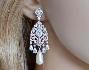 Luxe Fancy Cut Micro Pave Cubic Zirconia and Swarovski Teardrop Pearl Chandelier Dangle Earrings, Bridal, Wedding (Pearl-881)