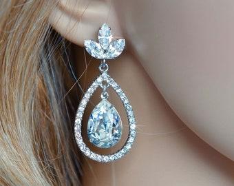 Rhodium or Yellow Gold Handmade Swarovski Triple Marquise Navette Posts & Pear Teardrop Halo Dangle Bridal Earrings, Wedding (Sparkle-2871)
