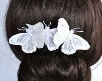 Handmade Bridal White Feather Butterfly Comb, Bridal, Wedding (Sparkle-1769-U)